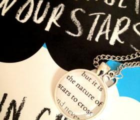 The Fault in Our Stars by John Green Silver Plated Book Page Necklace It is the nature of stars to cross
