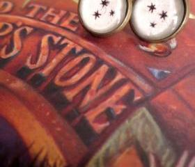 Harry Potter Chapter Heading Stars Antiqued Bronze Book Page Dangling or Post Earrings