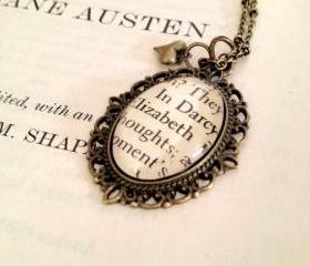 Elizabeth Bennet and Mr Darcy Pride and Prejudice Jane Austen Antiqued Bronze Book Page Necklace