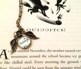 Harry Potter Quidditch Snitch Antiqued Bronze Book Page Necklace with Wings