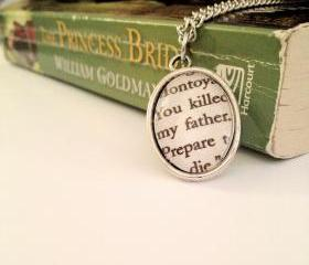 Inigo Montoya Quote Antiqued Silver Book Page Necklace from the Princess Bride You killed my father prepare to die