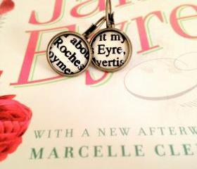 Jane Eyre and Mr Rochester Antiqued Bronze Dangling Book Page Earrings from Charlotte Bronte's Novel