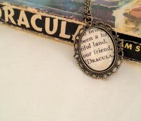 Bram Stoker's Dracula Antiqued Bronze Victorian Literature Book Page Necklace