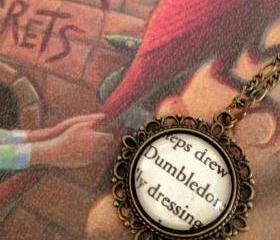 Dumbledore from Harry Potter Glass Antiqued Bronze Book Page Necklace Hogwarts Headmaster