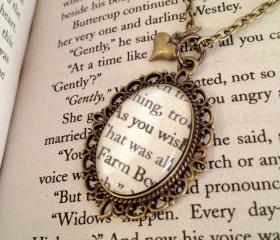 The Princess Bride As You Wish Antiqued Bronze Book Page Necklace