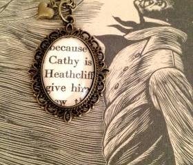 Catherine Earnshaw and Heathcliff from Wuthering Heights Antique Bronze Book Page Necklace