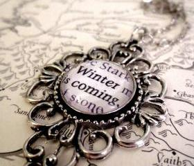 Game of Thrones Winter is Coming Antiqued Silver Book Page Necklace