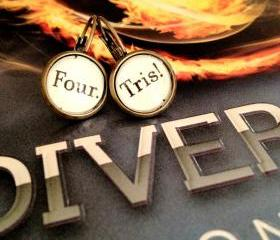 Divergent Four and Tris Prior Veronica Roth Antiqued Bronze Dangling or Post Book Page Earrings