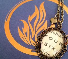 Four and Six Divergent by Veronica Roth Antiqued Bronze Book Page Necklace