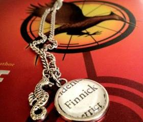 Finnick Hunger Games Suzanne Collins Antiqued Silver Book Page Necklace