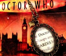 Doctor Who and TARDIS Antiqued Bronze Book Page Necklace
