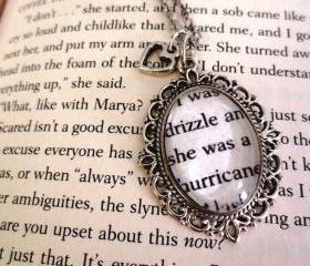  Looking for Alaska John Green Antiqued Silver Book Page Necklace I was drizzle and she was a hurricane