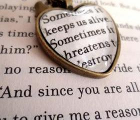 Insurgent by Veronica Roth Antiqued Bronze Book Page Necklace Sometimes it keeps us alive Divergent