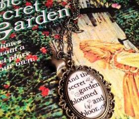 The Secret Garden by Frances Hodgson Burnett Antiqued Bronze or Silver Book Page Necklace
