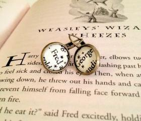  Fred and George Weasley from J.K. Rowling's Harry Potter Dangling or Post Antiqued Bronze Book Page Earrings