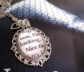 Fifty Shades of Grey Right now I'm thinking Nice tie Antiqued Silver Ornate Book Page Necklace