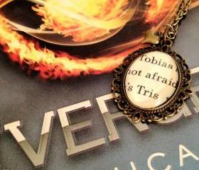Tobias and Tris Veronica Roth Divergent Antiqued Bronze Book Page Necklace