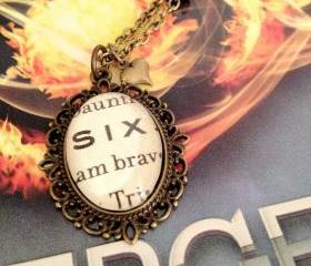 Six Beatrice Prior Antiqued Bronze Book Page Necklace from Veronica Roth's Divergent