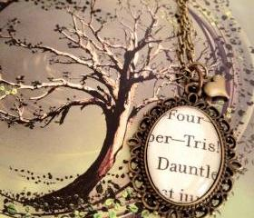 Four and Tris from Veronica Roth's Divergent Antiqued Bronze Book Page Necklace Dauntless