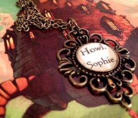 Howl and Sophie fromDiana Wynne Jones's Howl's Moving Castle Antiqued Bronze Book Page Necklace Studio Ghibli