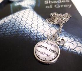 Fifty Shades of Grey Laters Baby Christian Grey and Anastasia Steele Antiqued Silver Book Page Necklace