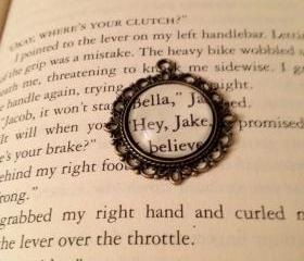 Jake Black and Bella Swan from Stephanie Meyers's Twilight Antiqued Bronze Book Page Necklace