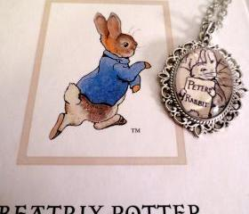 Peter Rabbit Antiqued Silver or Bronze Book Page Necklace Beatrix Potter
