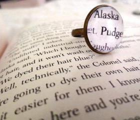 Looking for Alaska Alaska and Pudge Antiqued Bronze Adjustable Book Page Ring