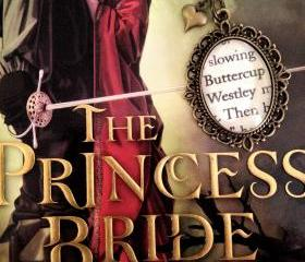 Buttercup and Westley from William Goldman's Princess Bride Antiqued Bronze Book Page Necklace