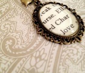 Ella and Char Ella Enchanted Book Page Antiqued Bronze Necklace