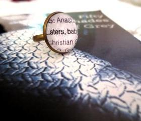 Fifty Shades of Grey 'Laters, Baby' Antiqued Bronze Book Page Ring