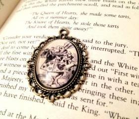 White Rabbit from Alice's Adventures in Wonderland Antiqued Bronze Victorian Literature Book Page Necklace