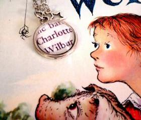 Charlotte and Wilbur from Charlotte's Web Antiqued Silver Book Page Necklace