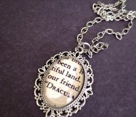 Bram Stoker's Dracula Antiqued Silver Victorian Literature Book Page Necklace
