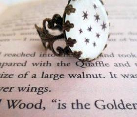 Harry Potter Chapter Heading Stars Antiqued Bronze Book Page Ornate Ring