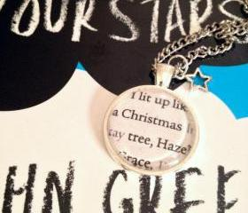 The Fault in Our Stars John Green Silver Plated Book Page Necklace I lit up like a Christmas tree Hazel Grace