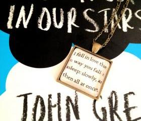 The Fault in Our Stars by John Green Antiqued Bronze Square Book Page Necklace I fell in love the way you fall asleep