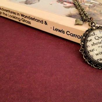Alice in Wonderland Off with his head Queen of Hearts Antiqued Bronze Book Page Necklace