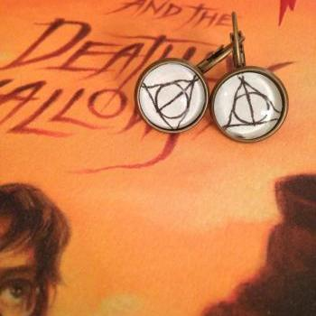 Deathly Hallows Harry Potter Antiqued Bronze Book Page Earrings Elder Wand Resurrection Stone Invisibility Cloak